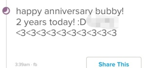 After two years, i was already lying to myself and everyone else. You wouldn't think it from this status update though.